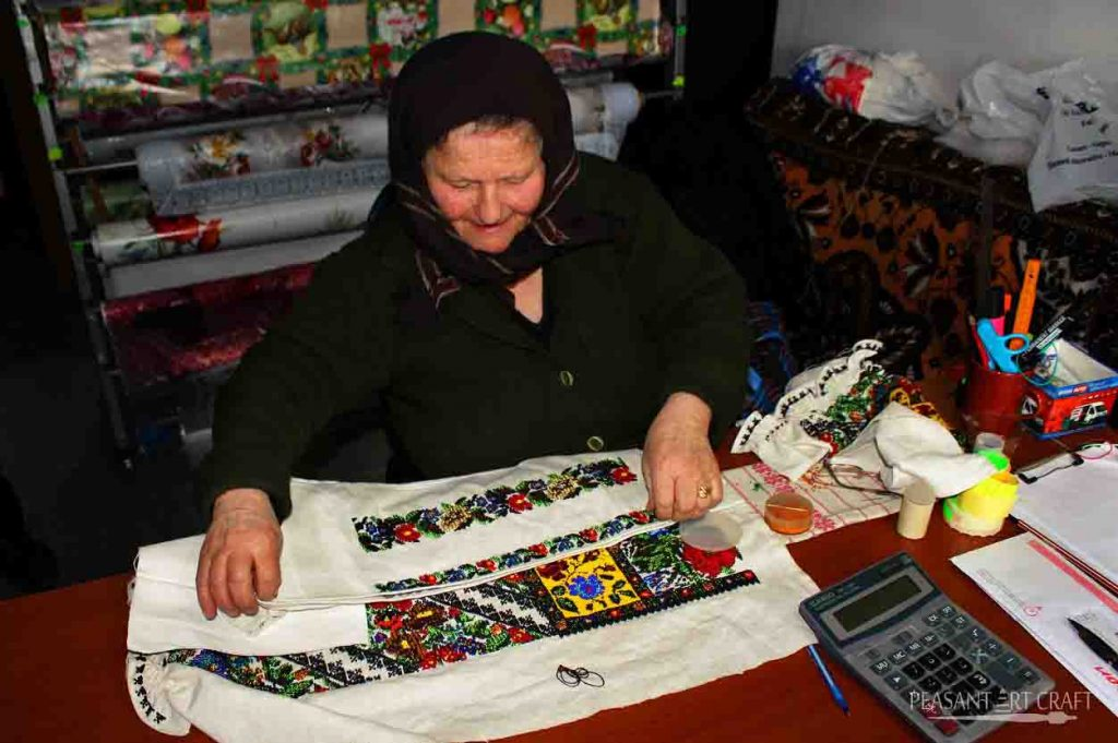 Bead Embroidery Work on Romanian Blouse
