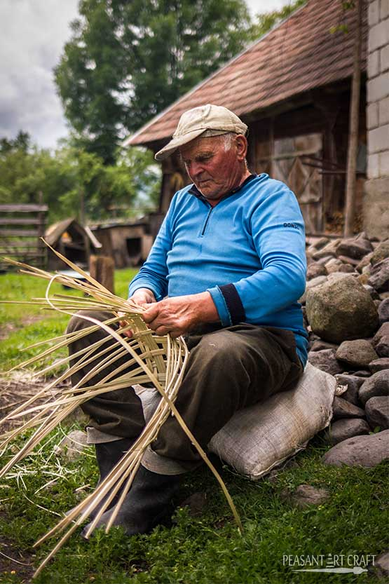 Basket Weaver from Romanian Village of Breb