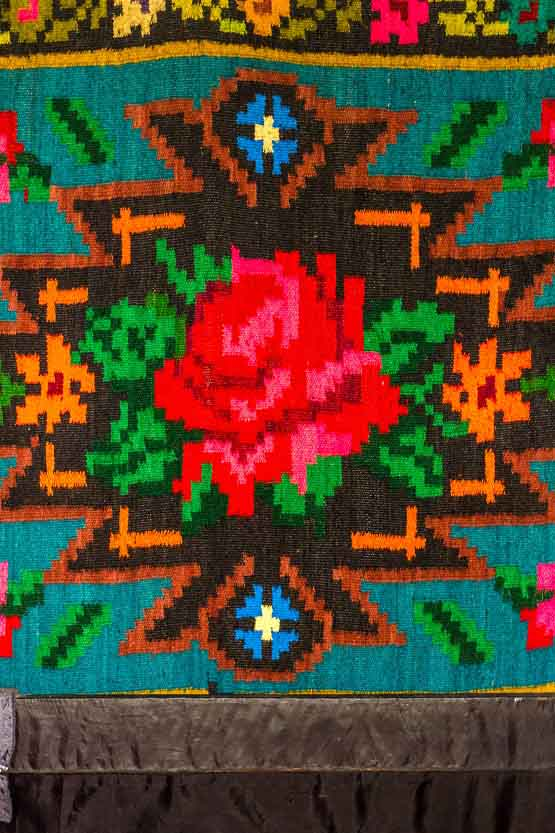 Embroidered Floral Patterns on Romanian Tapestry